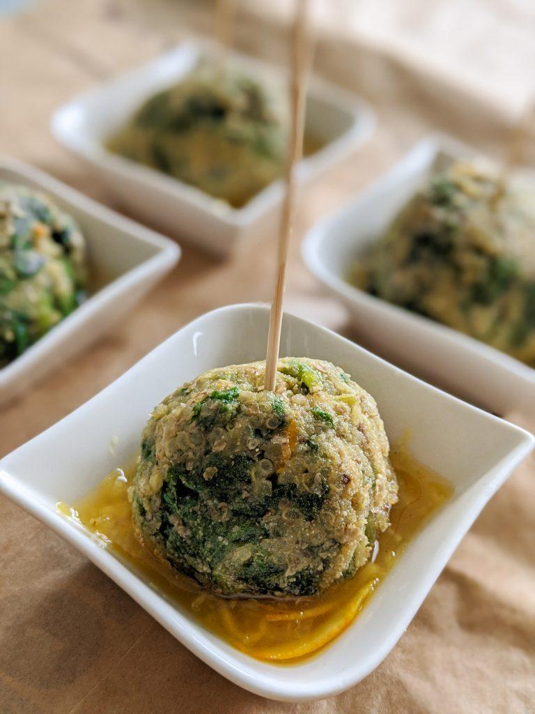 quinoa balls in orange sauce
