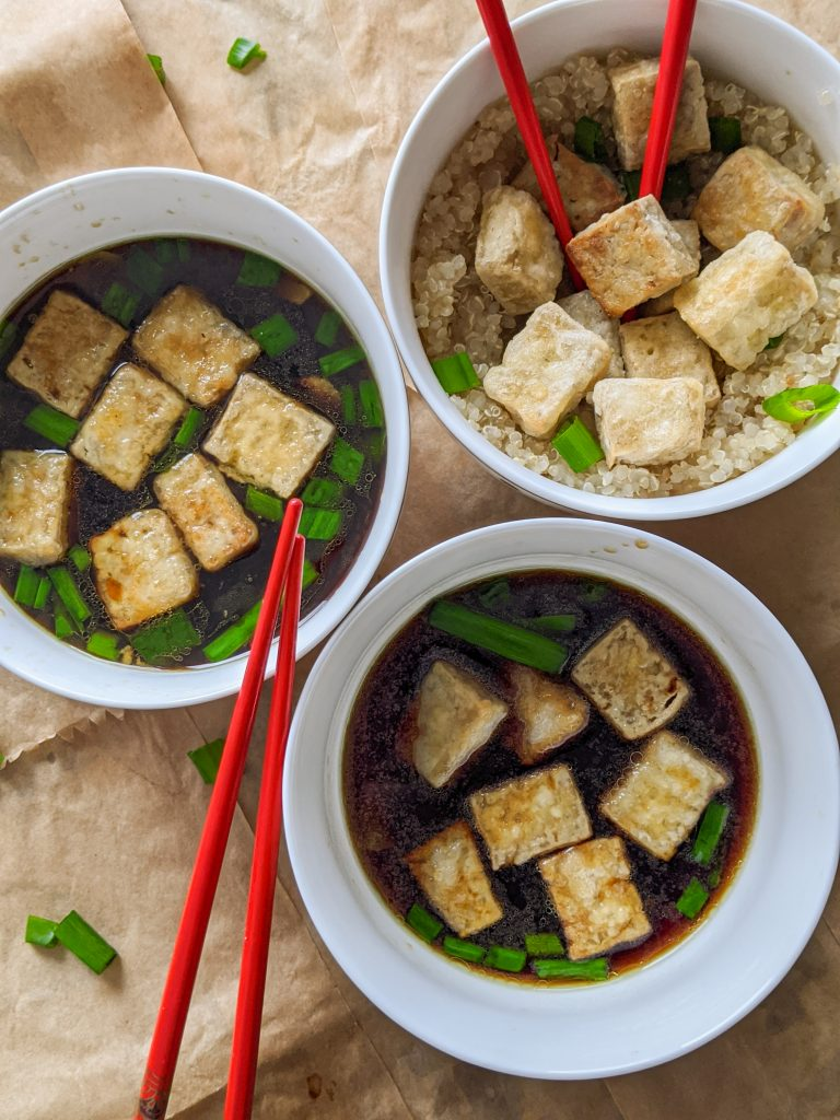 crispy tofu with ginger and scallions