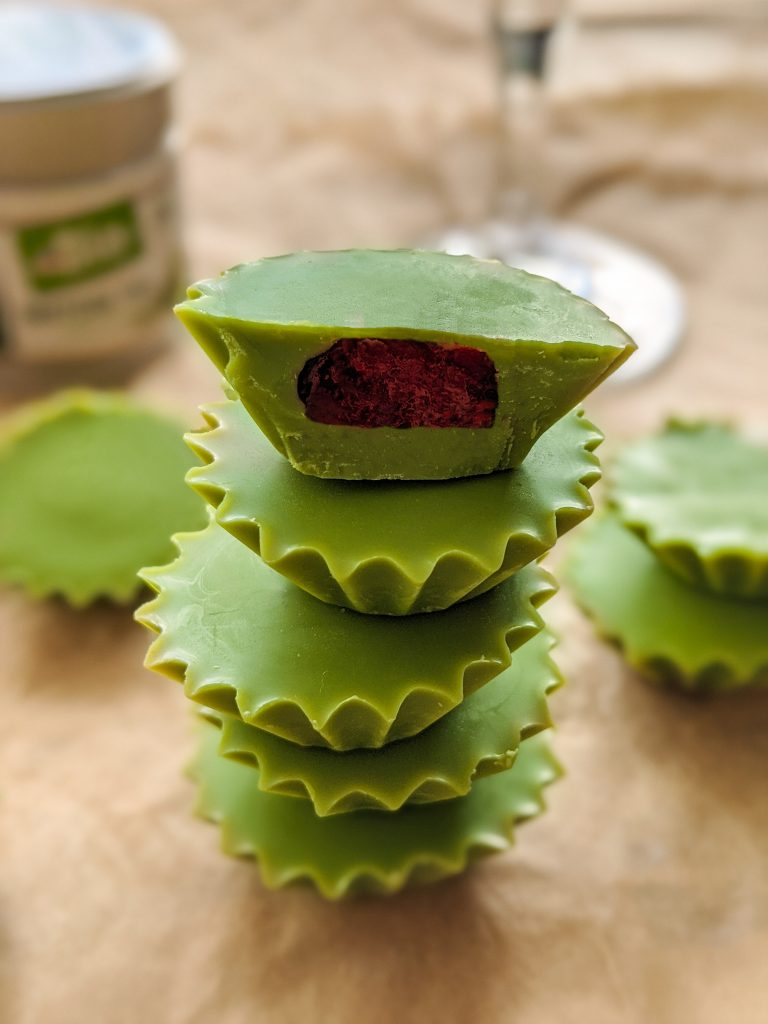 matcha raspberry cups