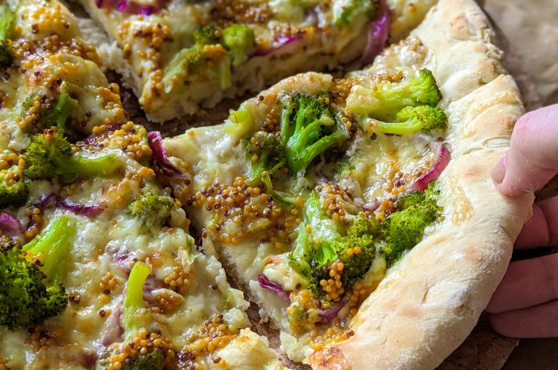 Vegan broccoli mustard pizza