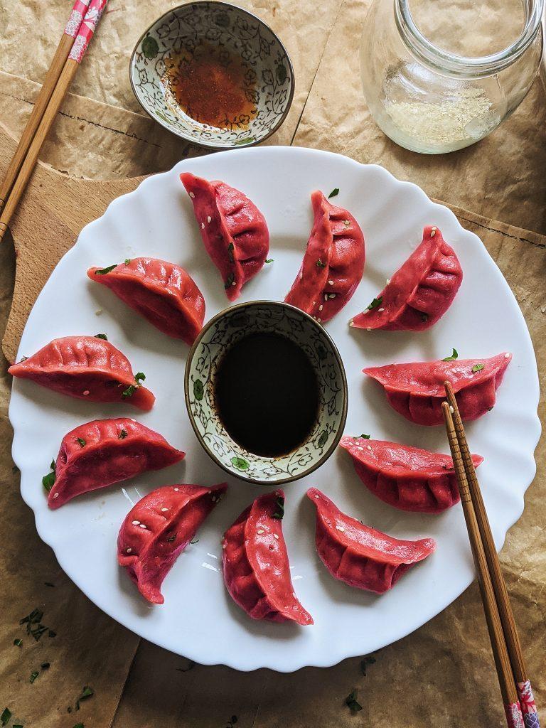 pink potstickers