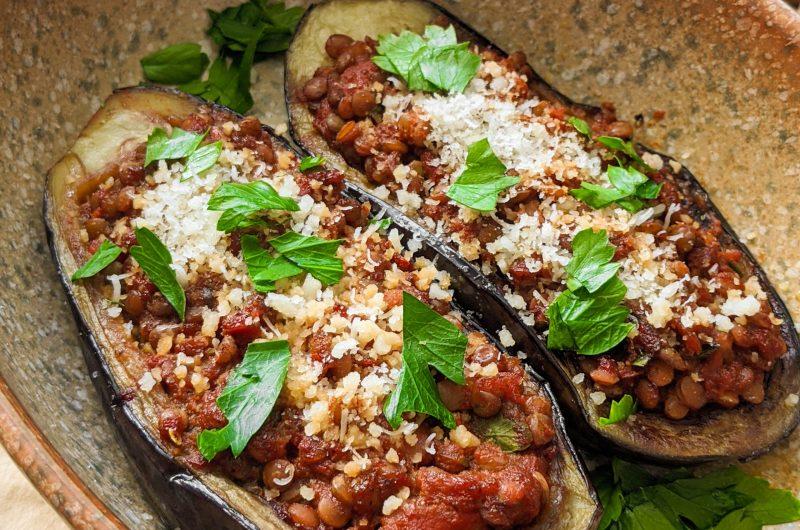 Moroccan stuffed eggplant