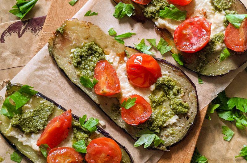 Pesto eggplant slices